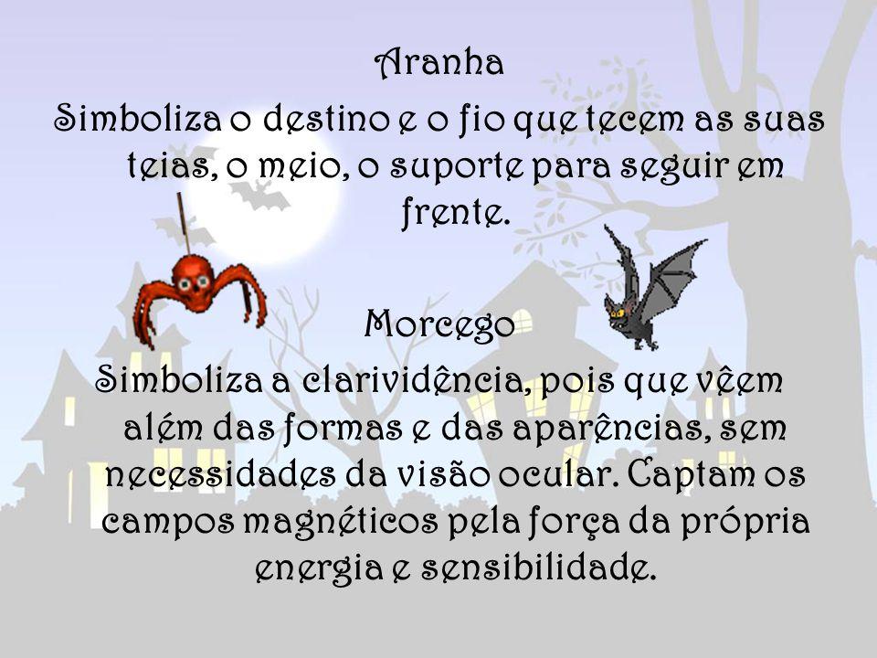 Aranha Simboliza o destino e o fio que tecem as suas teias, o meio, o suporte para seguir em frente. Morcego Simboliza a clarividência, pois que vêem