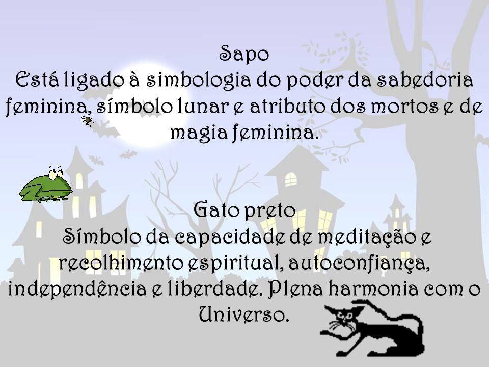 Sapo Está ligado à simbologia do poder da sabedoria feminina, símbolo lunar e atributo dos mortos e de magia feminina. Gato preto Símbolo da capacidad