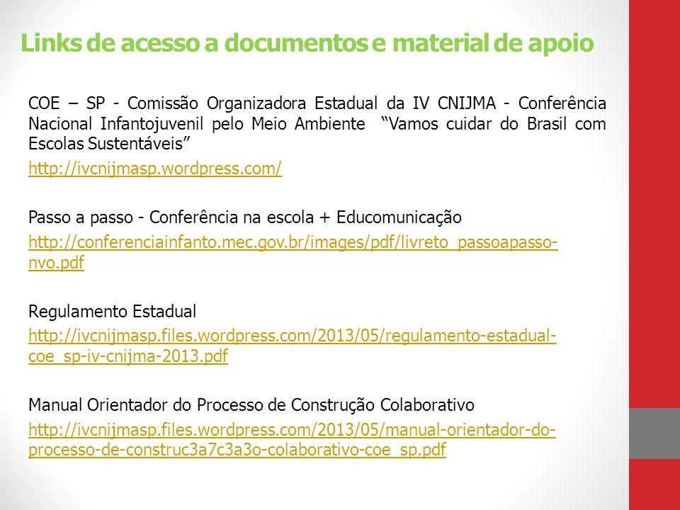 Links de acesso a documentos e material de apoio COE – SP - Comissão Organizadora Estadual da IV CNIJMA - Conferência Nacional Infantojuvenil pelo Mei