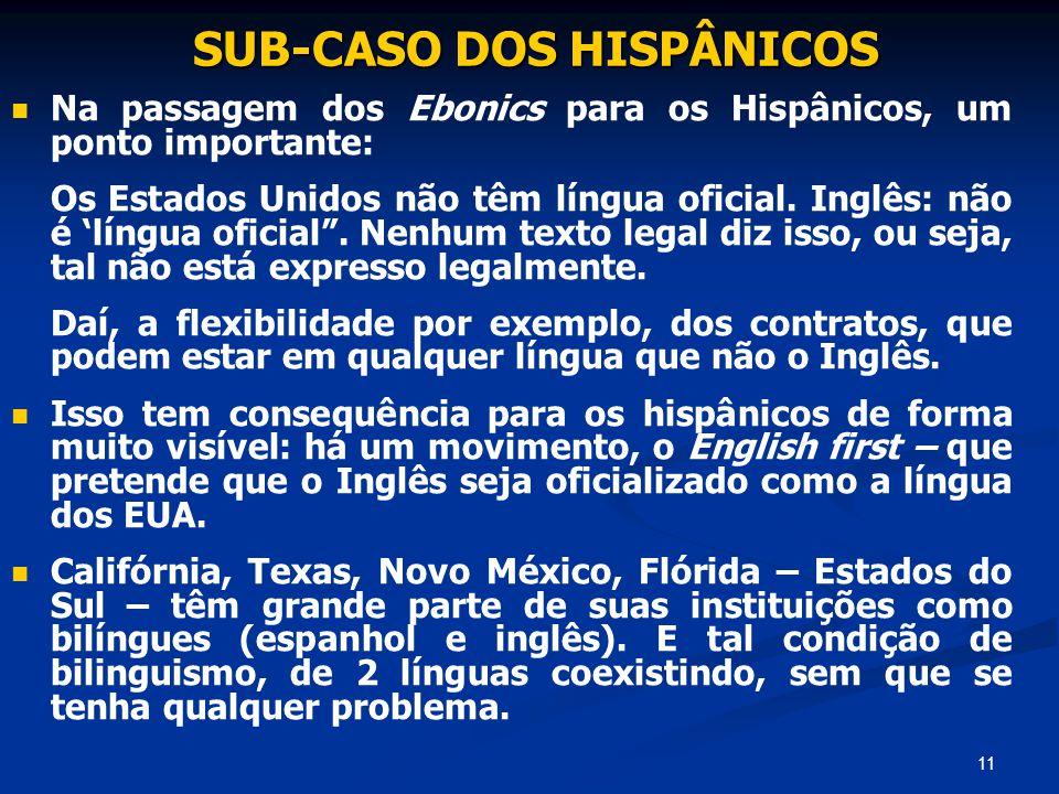 11 SUB-CASO DOS HISPÂNICOS SUB-CASO DOS HISPÂNICOS Na passagem dos Ebonics para os Hispânicos, um ponto importante: Os Estados Unidos não têm língua o