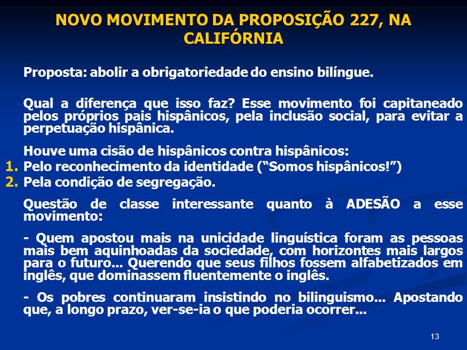 13 NOVO MOVIMENTO DA PROPOSIÇÃO 227, NA CALIFÓRNIA Proposta: abolir a obrigatoriedade do ensino bilíngue. Qual a diferença que isso faz? Esse moviment