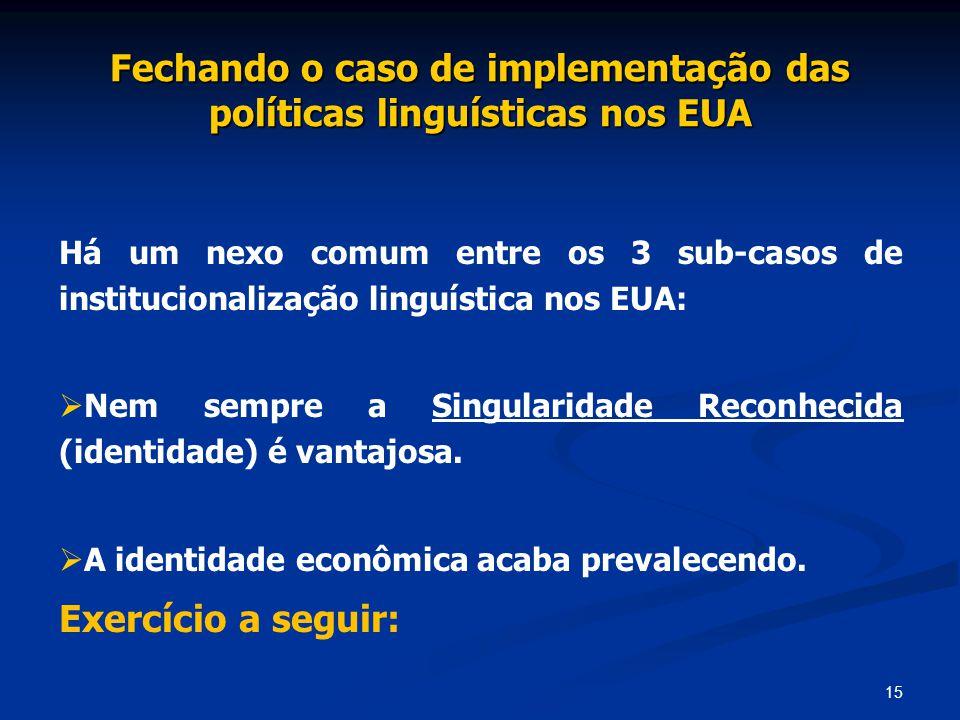 15 Fechando o caso de implementação das políticas linguísticas nos EUA Há um nexo comum entre os 3 sub-casos de institucionalização linguística nos EU