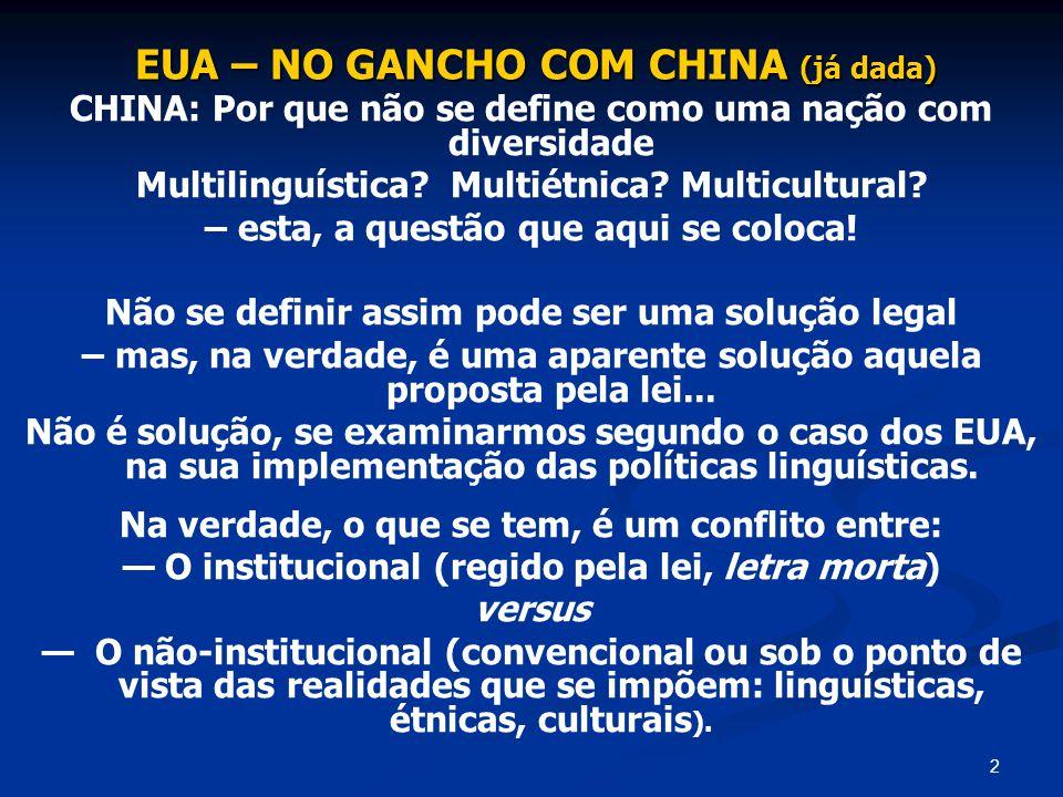 3 CASO DOS EUA Ressalte-se que considerar a Simetria Institucional manifesta no truísmo Todas as línguas são iguais não soluciona a questão de se eleger como oficial uma língua única.
