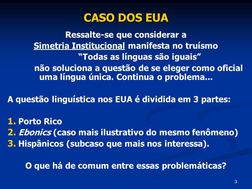 3 CASO DOS EUA Ressalte-se que considerar a Simetria Institucional manifesta no truísmo Todas as línguas são iguais não soluciona a questão de se eleg
