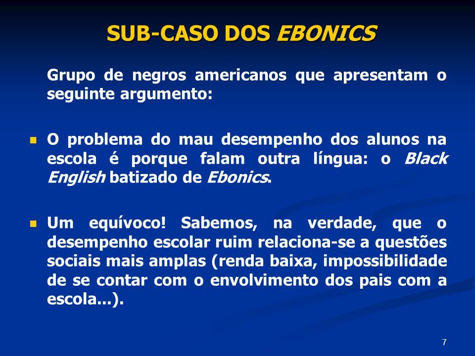 7 SUB-CASO DOS EBONICS SUB-CASO DOS EBONICS Grupo de negros americanos que apresentam o seguinte argumento: O problema do mau desempenho dos alunos na