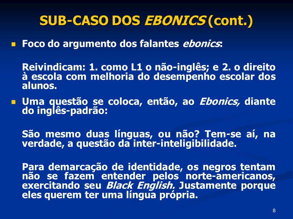8 SUB-CASO DOS EBONICS (cont.) Foco do argumento dos falantes ebonics: Reivindicam: 1. como L1 o não-inglês; e 2. o direito à escola com melhoria do d