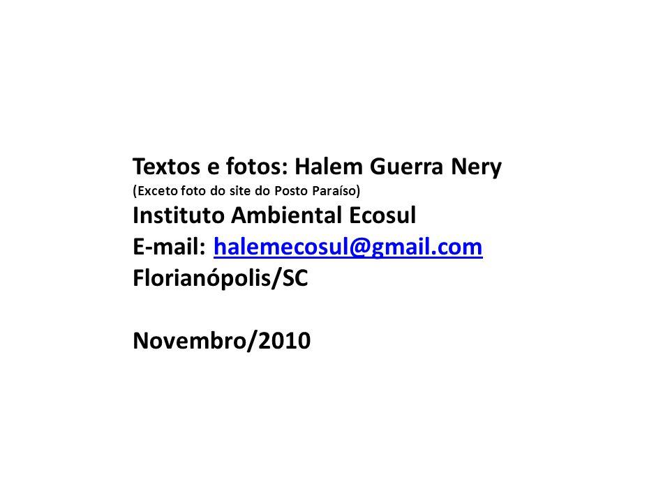 Textos e fotos: Halem Guerra Nery (Exceto foto do site do Posto Paraíso) Instituto Ambiental Ecosul E-mail: halemecosul@gmail.comhalemecosul@gmail.com