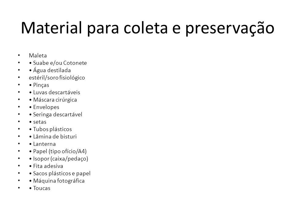 Material para coleta e preservação Maleta Suabe e/ou Cotonete Água destilada estéril/soro fisiológico Pinças Luvas descartáveis Máscara cirúrgica Enve