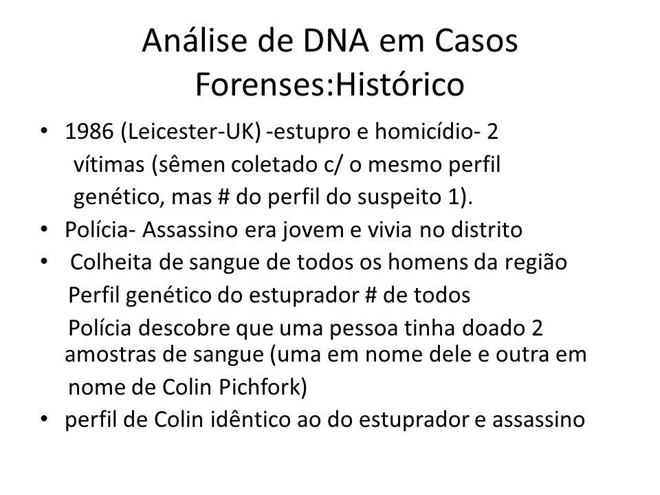 Análise de DNA em Casos Forenses:Histórico 1986 (Leicester-UK) -estupro e homicídio- 2 vítimas (sêmen coletado c/ o mesmo perfil genético, mas # do perfil do suspeito 1).