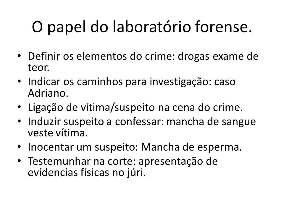 O papel do laboratório forense.Definir os elementos do crime: drogas exame de teor.
