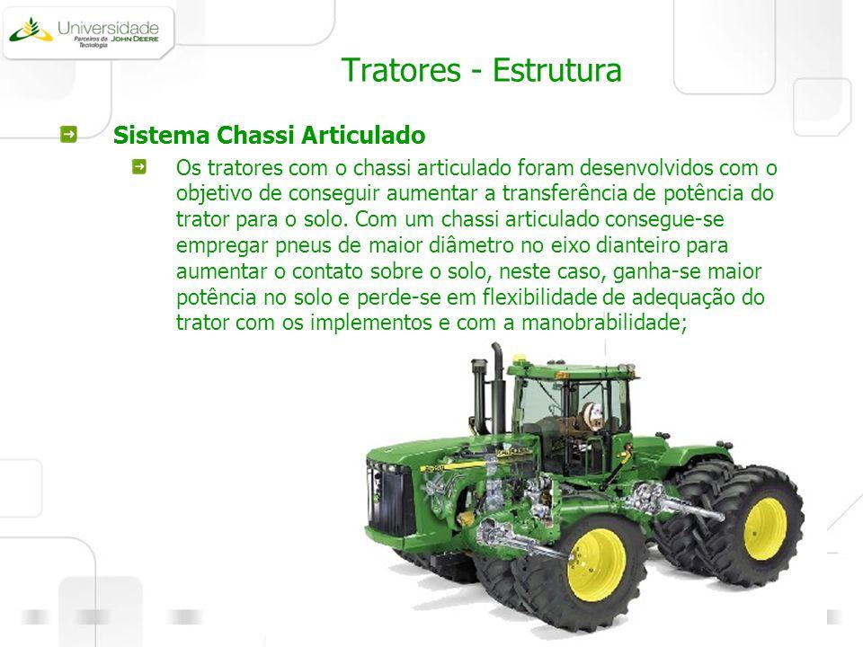 Tratores - Estrutura Sistema Chassi Articulado Os tratores com o chassi articulado foram desenvolvidos com o objetivo de conseguir aumentar a transfer