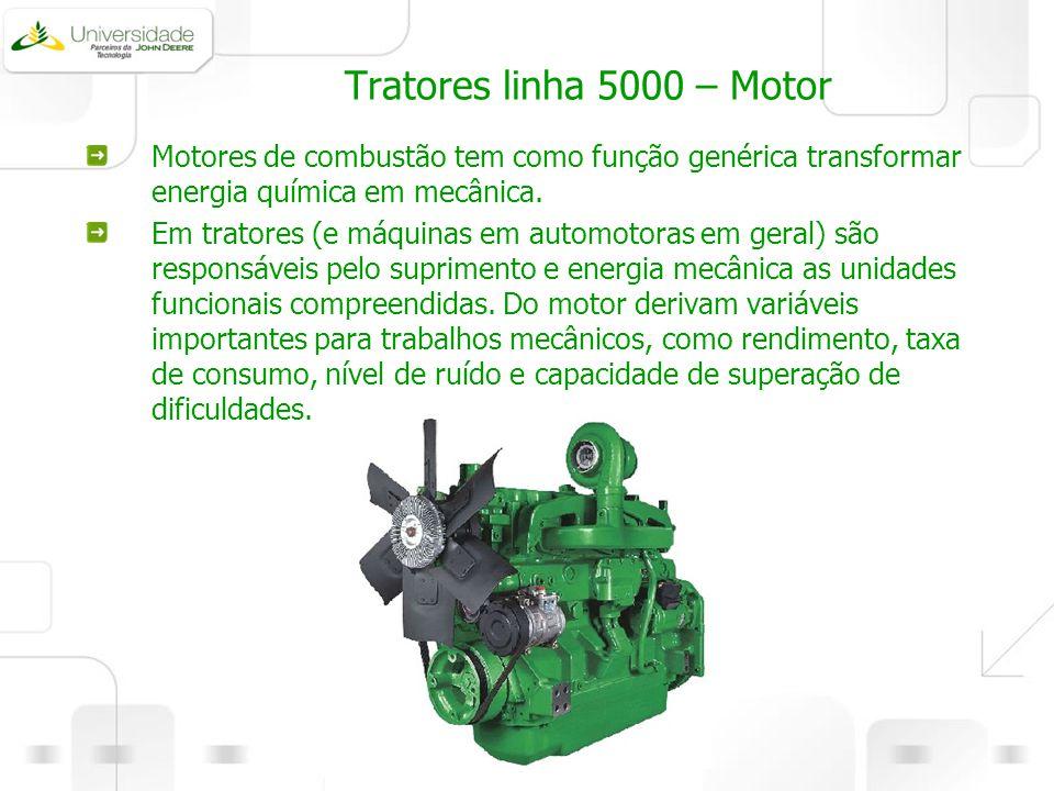 Tratores linha 5000 – Motor Motores de combustão tem como função genérica transformar energia química em mecânica. Em tratores (e máquinas em automoto