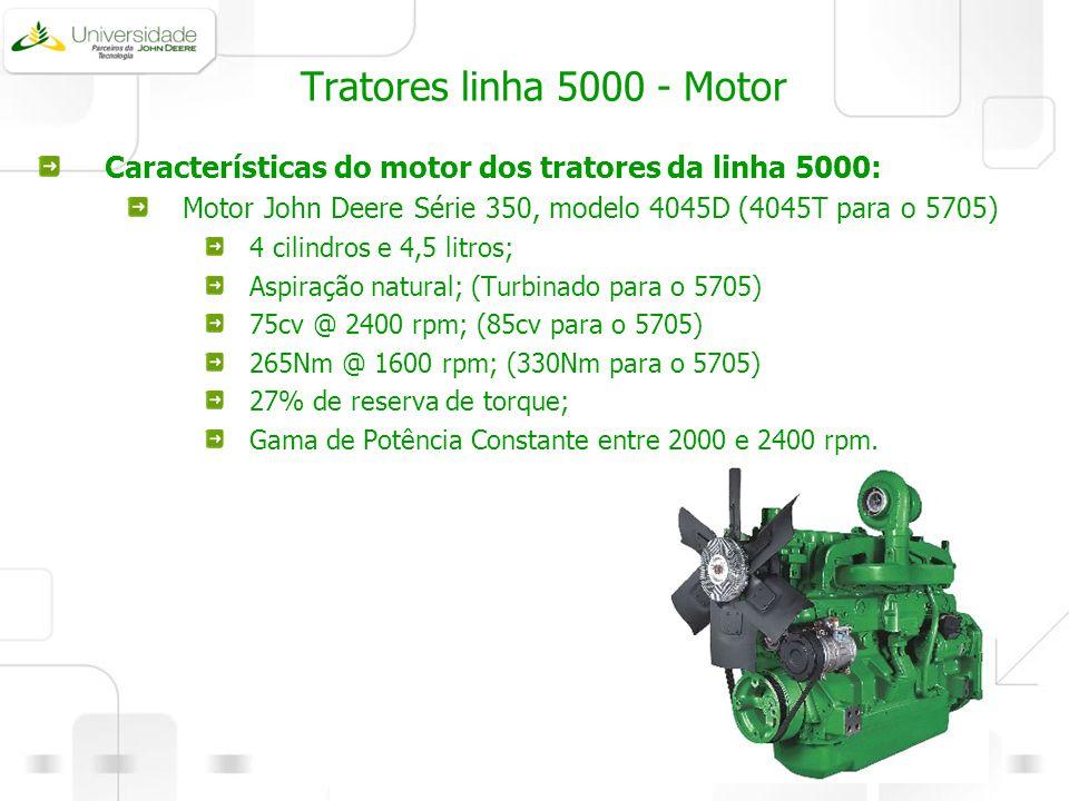 Tratores linha 5000 - Motor Características do motor dos tratores da linha 5000: Motor John Deere Série 350, modelo 4045D (4045T para o 5705) 4 cilind