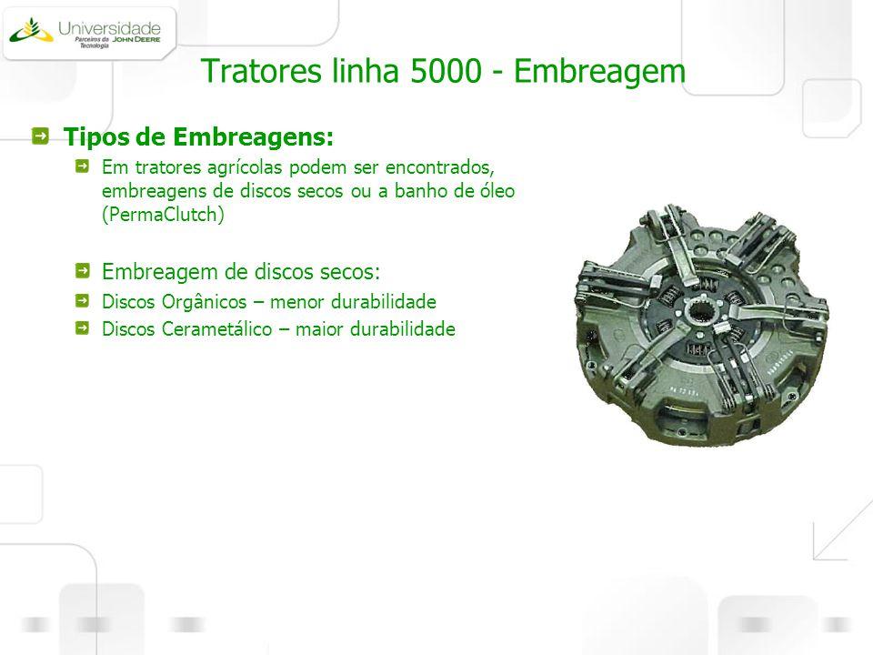Tratores linha 5000 - Embreagem Tipos de Embreagens: Em tratores agrícolas podem ser encontrados, embreagens de discos secos ou a banho de óleo (Perma