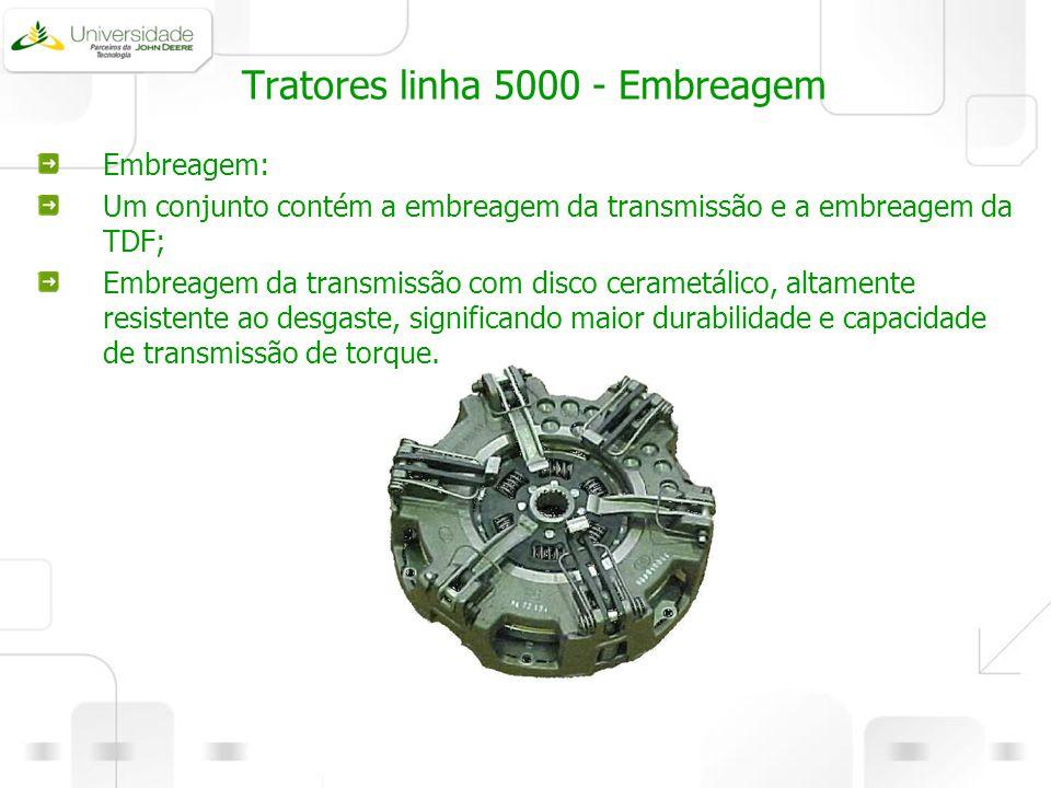Tratores linha 5000 - Embreagem Embreagem: Um conjunto contém a embreagem da transmissão e a embreagem da TDF; Embreagem da transmissão com disco cera