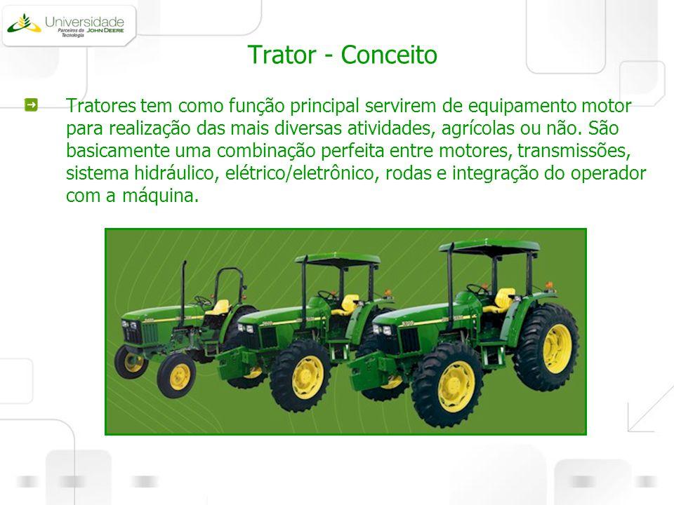 Trator - Conceito Tratores tem como função principal servirem de equipamento motor para realização das mais diversas atividades, agrícolas ou não. São
