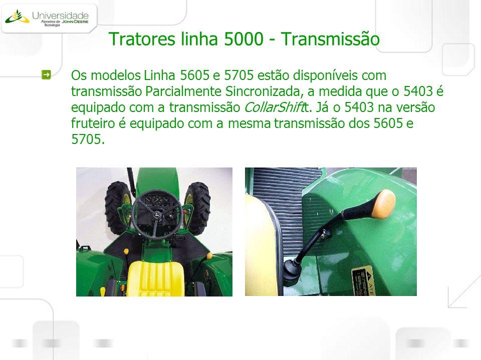 Tratores linha 5000 - Transmissão Os modelos Linha 5605 e 5705 estão disponíveis com transmissão Parcialmente Sincronizada, a medida que o 5403 é equi