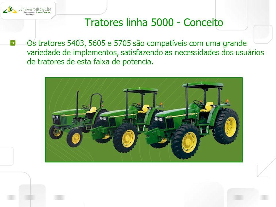 Tratores linha 5000 - Conceito Os tratores 5403, 5605 e 5705 são compatíveis com uma grande variedade de implementos, satisfazendo as necessidades dos