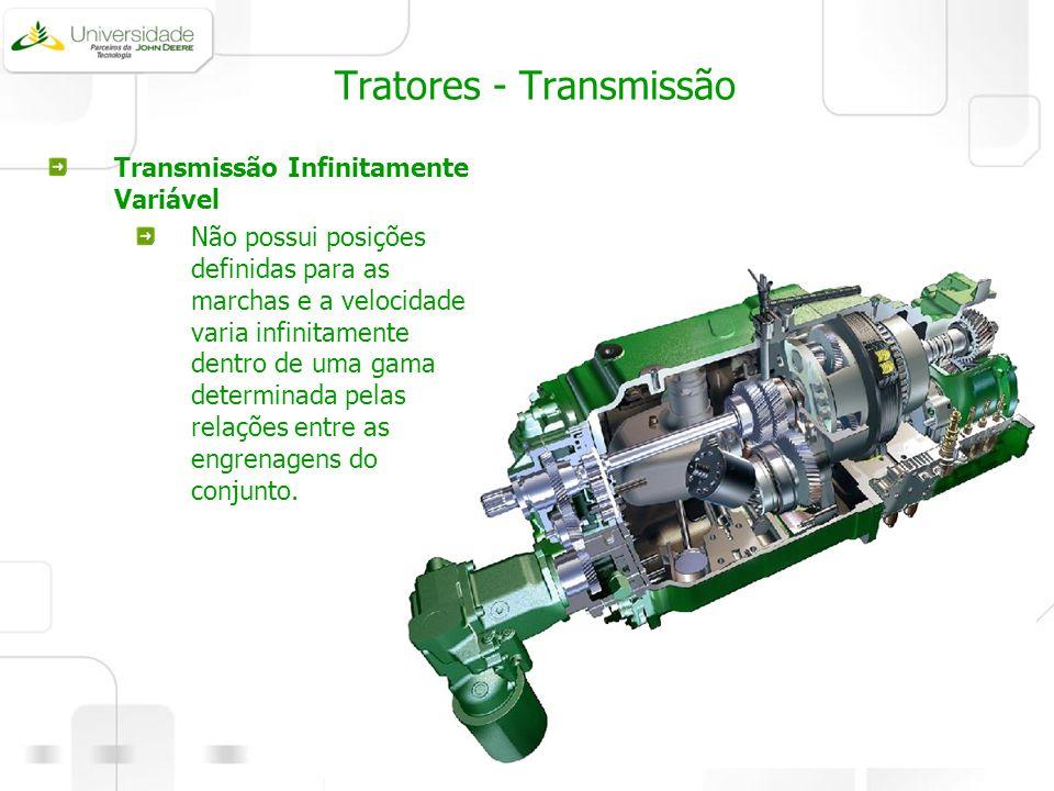 Tratores - Transmissão Transmissão Infinitamente Variável Não possui posições definidas para as marchas e a velocidade varia infinitamente dentro de u