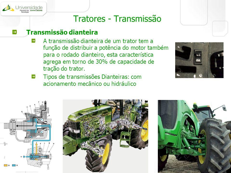 Tratores - Transmissão Transmissão dianteira A transmissão dianteira de um trator tem a função de distribuir a potência do motor também para o rodado