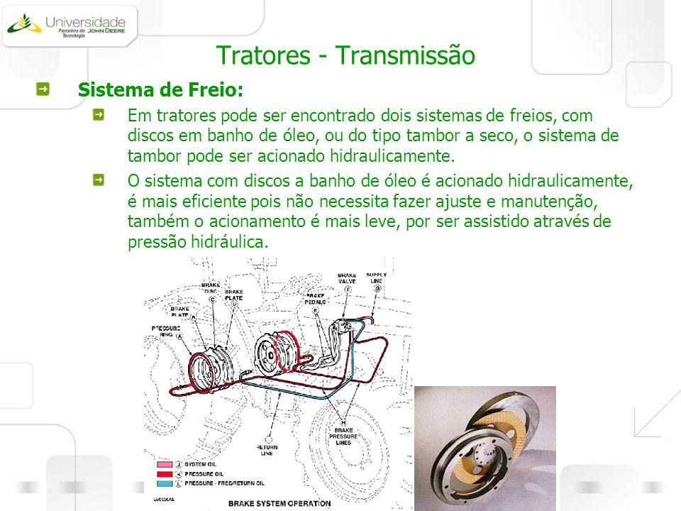 Tratores - Transmissão Sistema de Freio: Em tratores pode ser encontrado dois sistemas de freios, com discos em banho de óleo, ou do tipo tambor a sec