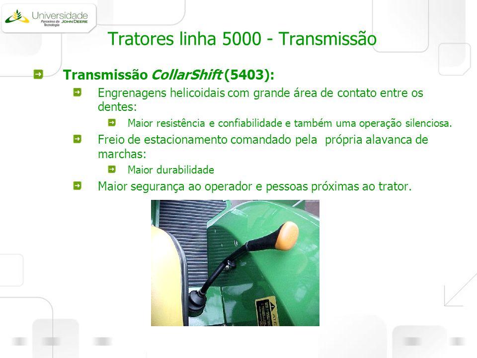 Tratores linha 5000 - Transmissão Transmissão CollarShift (5403): Engrenagens helicoidais com grande área de contato entre os dentes: Maior resistênci