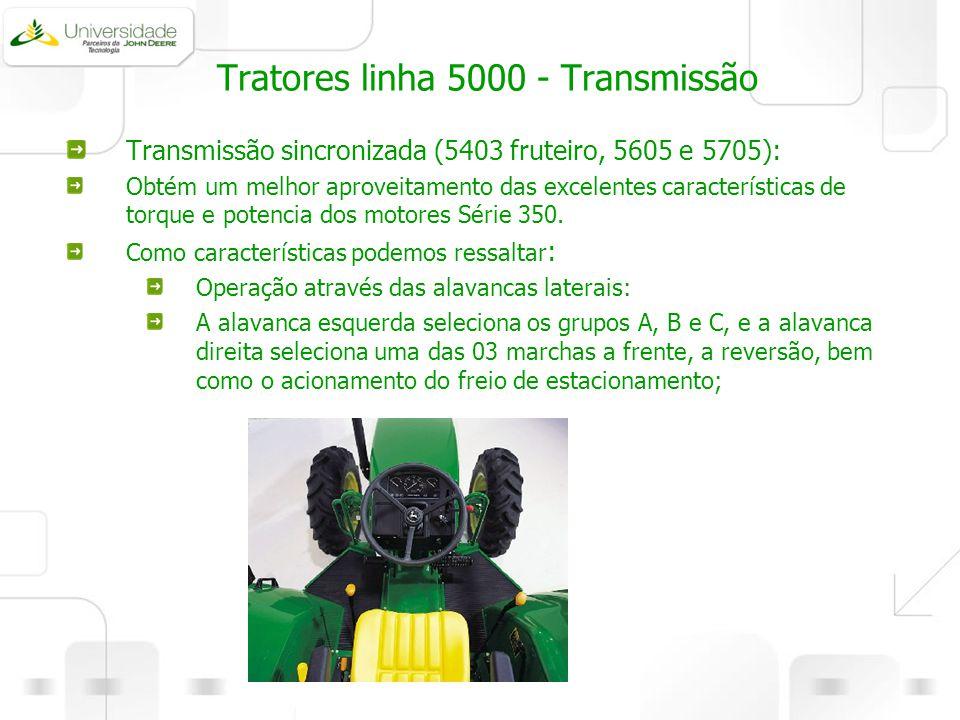 Tratores linha 5000 - Transmissão Transmissão sincronizada (5403 fruteiro, 5605 e 5705): Obtém um melhor aproveitamento das excelentes características