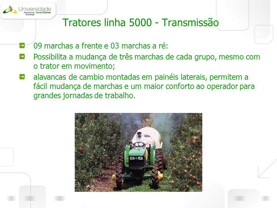 Tratores linha 5000 - Transmissão 09 marchas a frente e 03 marchas a ré: Possibilita a mudança de três marchas de cada grupo, mesmo com o trator em mo