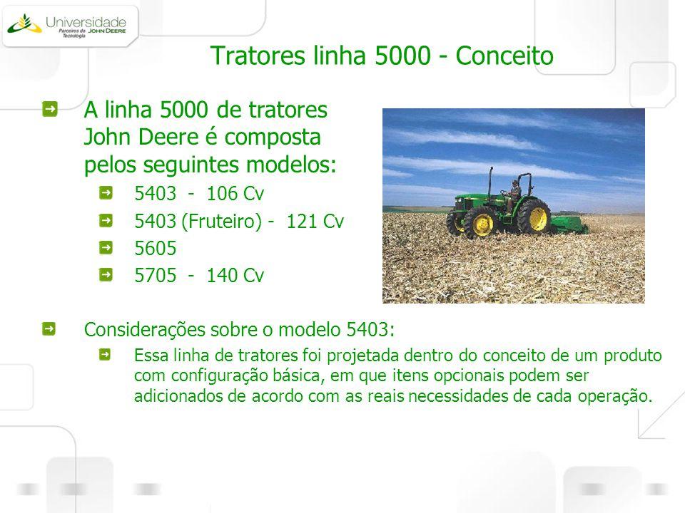 Tratores linha 5000 - Conceito Considerações sobre o modelo 5403: Essa linha de tratores foi projetada dentro do conceito de um produto com configuraç