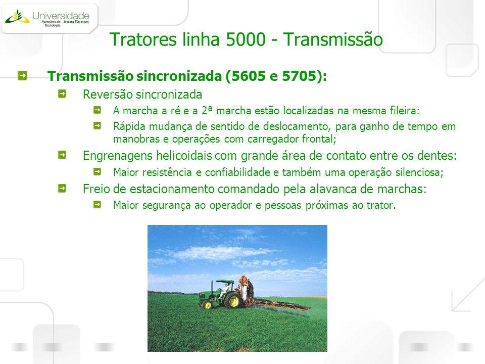 Tratores linha 5000 - Transmissão Transmissão sincronizada (5605 e 5705): Reversão sincronizada A marcha a ré e a 2ª marcha estão localizadas na mesma
