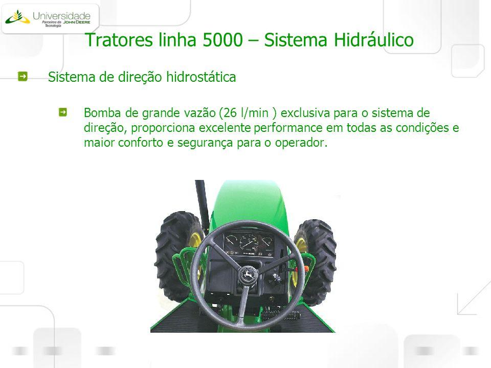 Tratores linha 5000 – Sistema Hidráulico Sistema de direção hidrostática Bomba de grande vazão (26 l/min ) exclusiva para o sistema de direção, propor