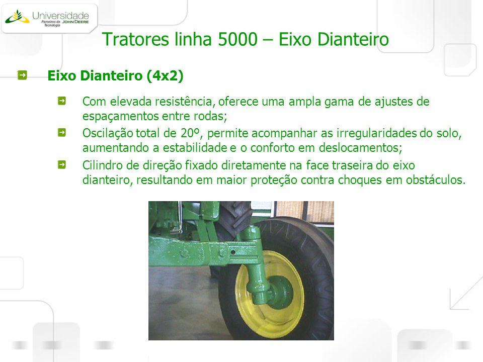 Tratores linha 5000 – Eixo Dianteiro Eixo Dianteiro (4x2) Com elevada resistência, oferece uma ampla gama de ajustes de espaçamentos entre rodas; Osci