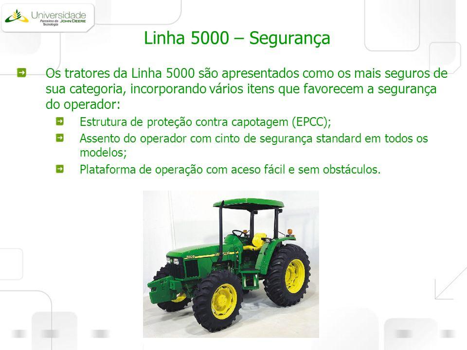 Linha 5000 – Segurança Os tratores da Linha 5000 são apresentados como os mais seguros de sua categoria, incorporando vários itens que favorecem a seg