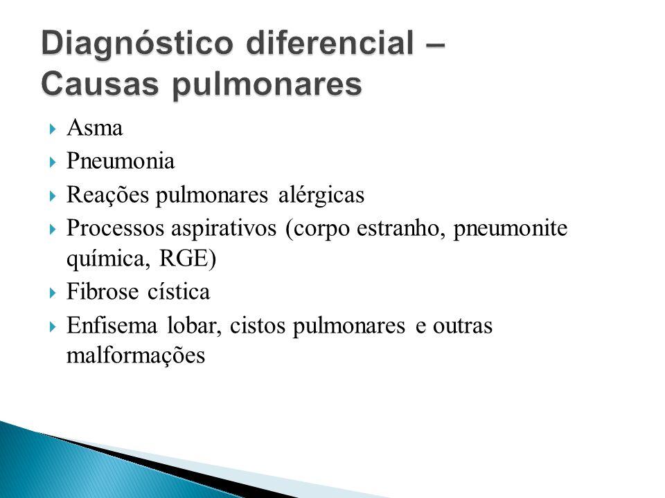 Asma Pneumonia Reações pulmonares alérgicas Processos aspirativos (corpo estranho, pneumonite química, RGE) Fibrose cística Enfisema lobar, cistos pul