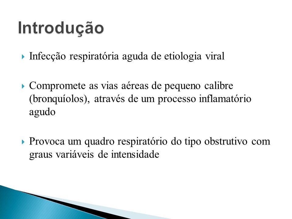 Infecção respiratória aguda de etiologia viral Compromete as vias aéreas de pequeno calibre (bronquíolos), através de um processo inflamatório agudo P