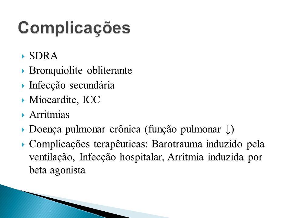SDRA Bronquiolite obliterante Infecção secundária Miocardite, ICC Arritmias Doença pulmonar crônica (função pulmonar ) Complicações terapêuticas: Baro