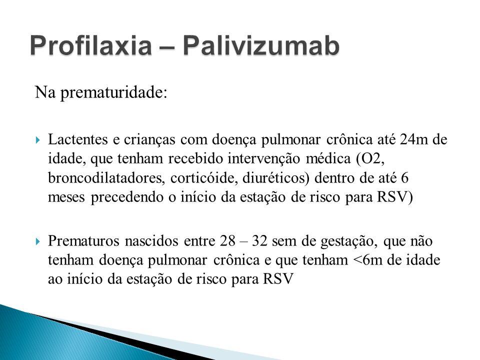 Na prematuridade: Lactentes e crianças com doença pulmonar crônica até 24m de idade, que tenham recebido intervenção médica (O2, broncodilatadores, co