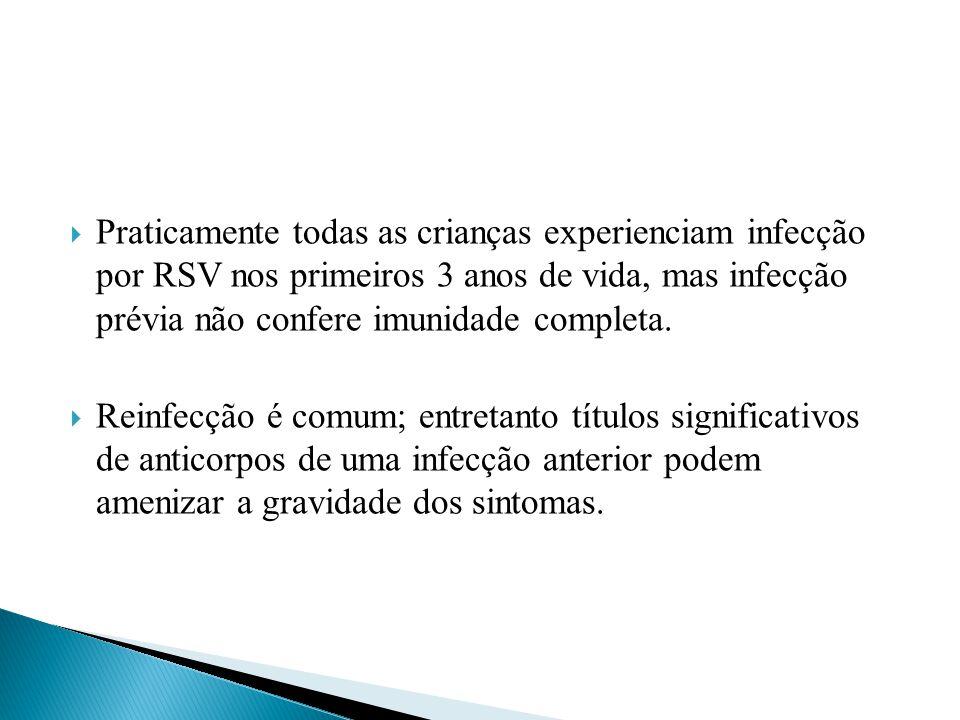 Praticamente todas as crianças experienciam infecção por RSV nos primeiros 3 anos de vida, mas infecção prévia não confere imunidade completa. Reinfec