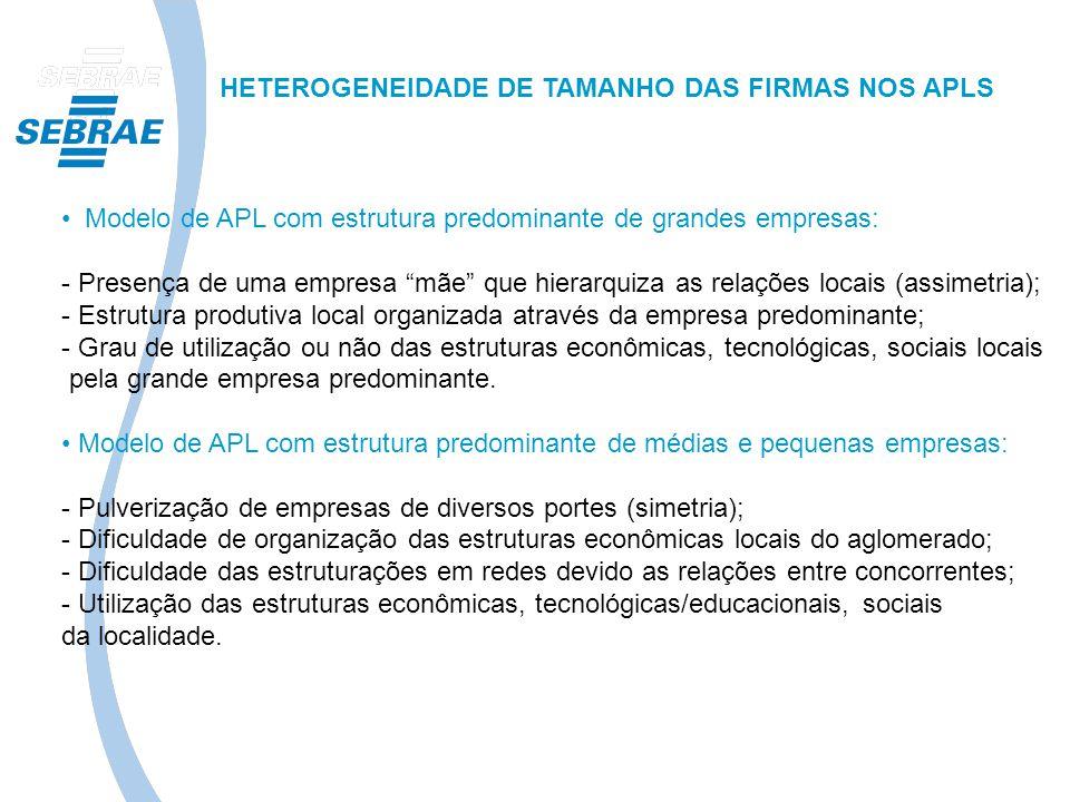 HETEROGENEIDADE DE TAMANHO DAS FIRMAS NOS APLS Modelo de APL com estrutura predominante de grandes empresas: - Presença de uma empresa mãe que hierarq