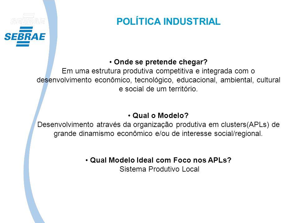 POLÍTICA INDUSTRIAL Onde se pretende chegar? Em uma estrutura produtiva competitiva e integrada com o desenvolvimento econômico, tecnológico, educacio