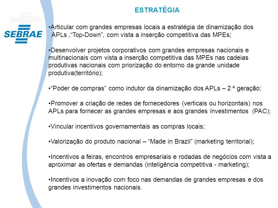 ESTRATÉGIA Articular com grandes empresas locais a estratégia de dinamização dos APLs,Top-Down, com vista a inserção competitiva das MPEs; Desenvolver