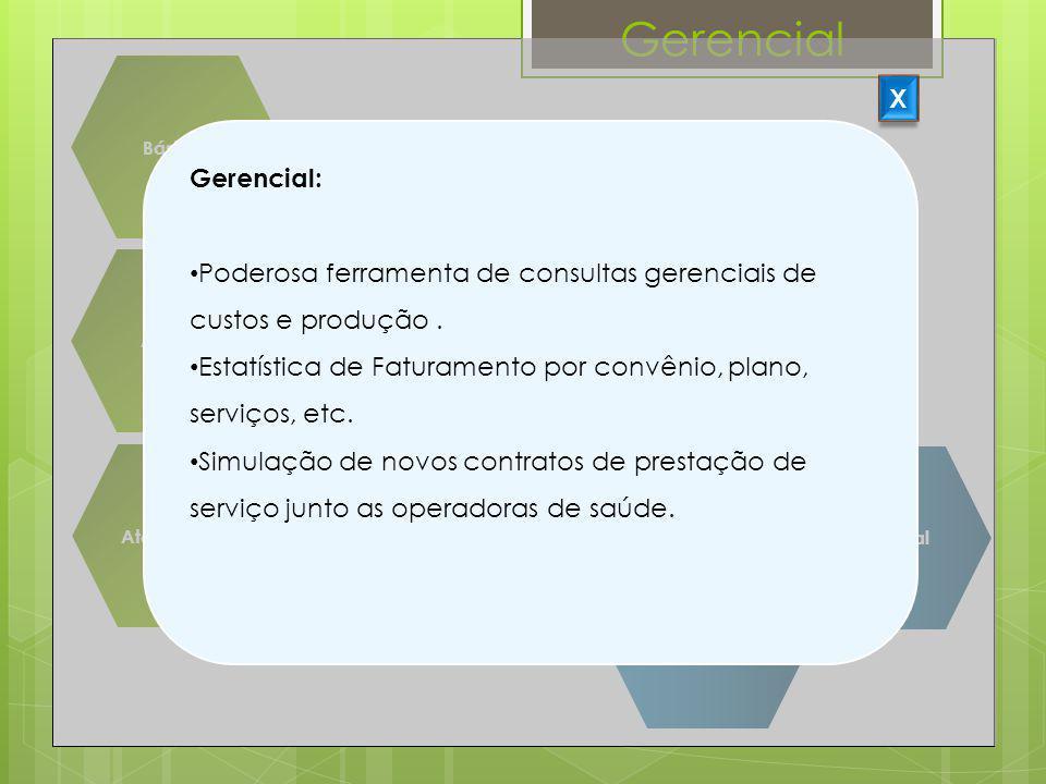 Gerencial Básicos Suprimentos Agenda Centro Cirúrgico Atendimento Faturamento Assistencial CME Financeiro Gerencial X Gerencial: Poderosa ferramenta d