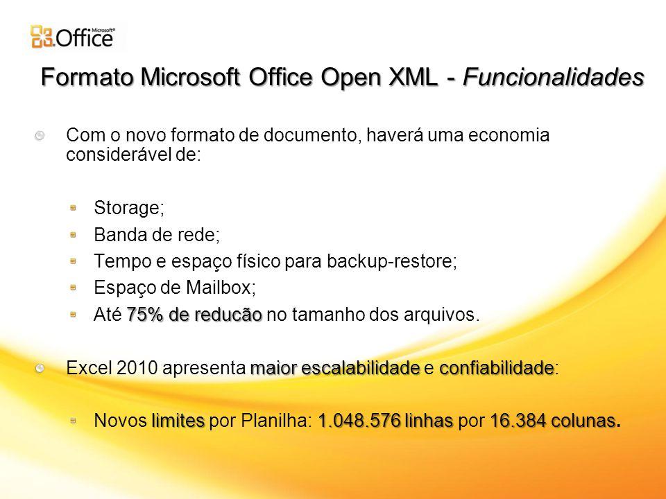 Formato Microsoft Office Open XML - Funcionalidades Com o novo formato de documento, haverá uma economia considerável de: Storage; Banda de rede; Tempo e espaço físico para backup-restore; Espaço de Mailbox; 75% de reducão Até 75% de reducão no tamanho dos arquivos.
