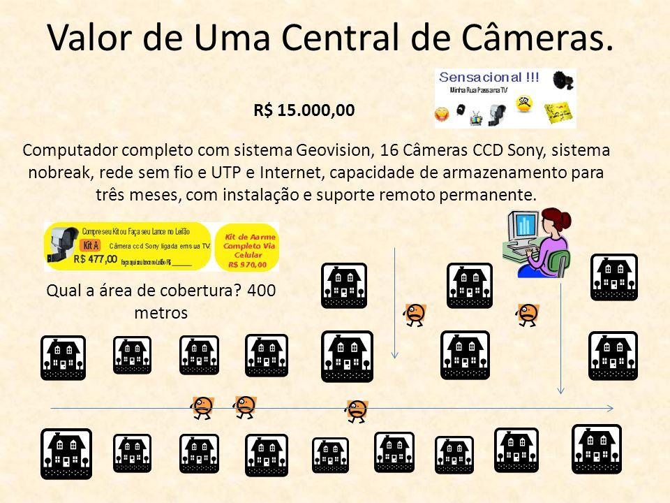Valor de Uma Central de Câmeras. R$ 15.000,00 Computador completo com sistema Geovision, 16 Câmeras CCD Sony, sistema nobreak, rede sem fio e UTP e In