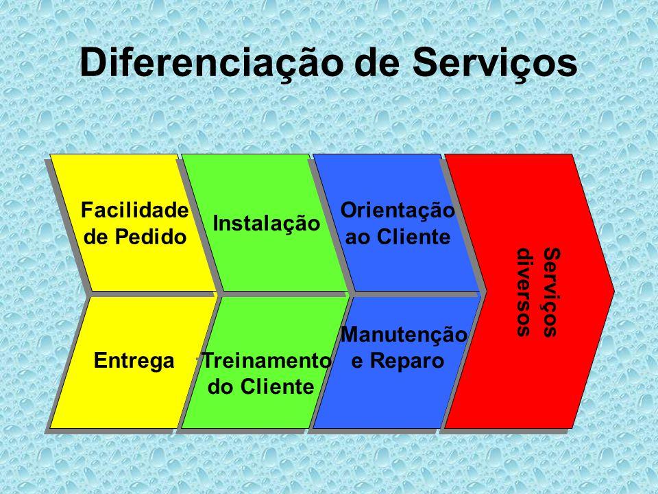 Entrega Diferenciação de Serviços Facilidade de Pedido Facilidade de Pedido Manutenção e Reparo Manutenção e Reparo Treinamento do Cliente Treinamento