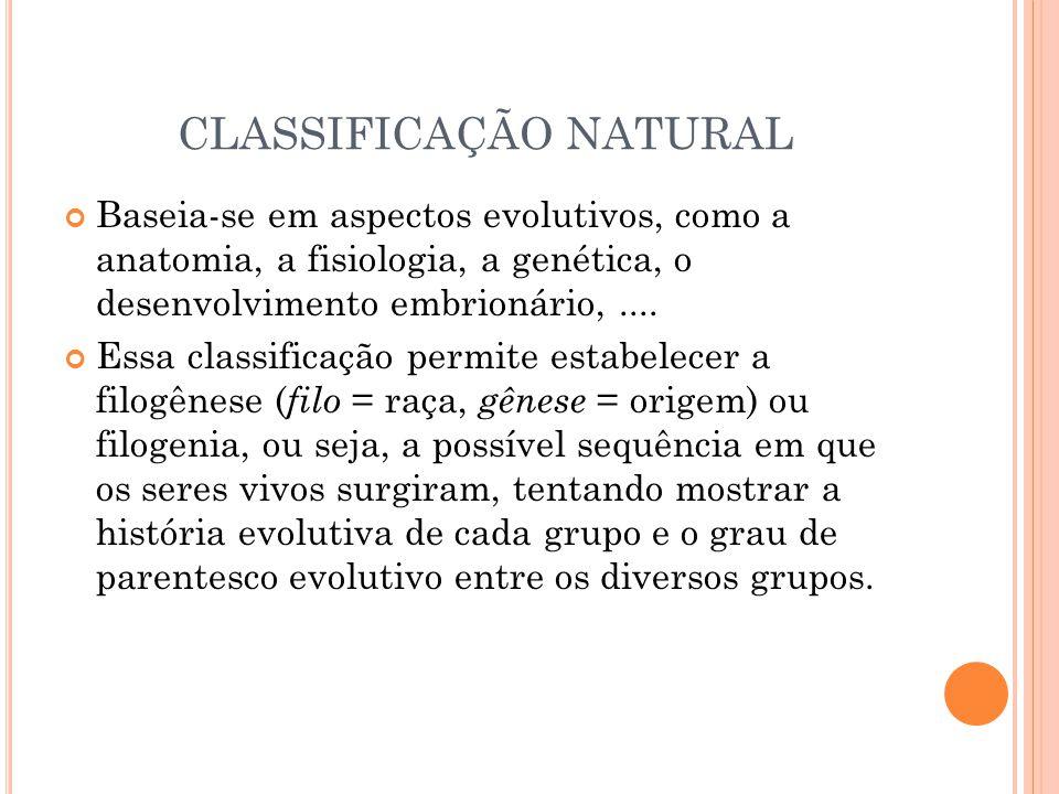 CLASSIFICAÇÃO NATURAL Baseia-se em aspectos evolutivos, como a anatomia, a fisiologia, a genética, o desenvolvimento embrionário,.... Essa classificaç