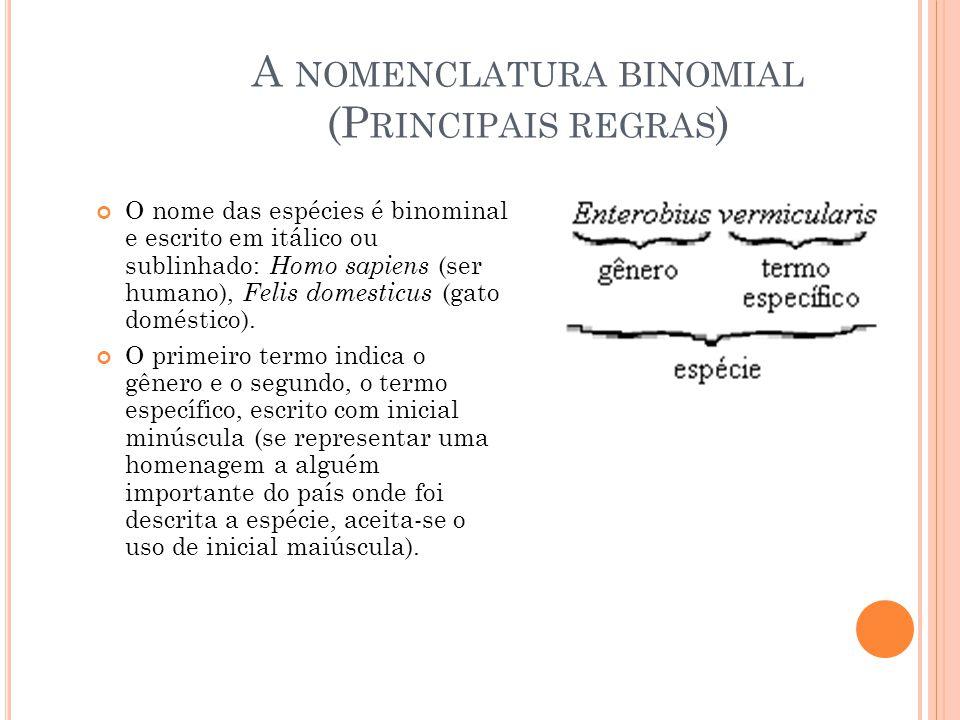 A NOMENCLATURA BINOMIAL (P RINCIPAIS REGRAS ) O nome das espécies é binominal e escrito em itálico ou sublinhado: Homo sapiens (ser humano), Felis domesticus (gato doméstico).