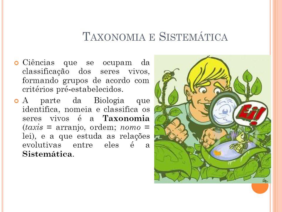 T AXONOMIA E S ISTEMÁTICA Ciências que se ocupam da classificação dos seres vivos, formando grupos de acordo com critérios pré-estabelecidos.