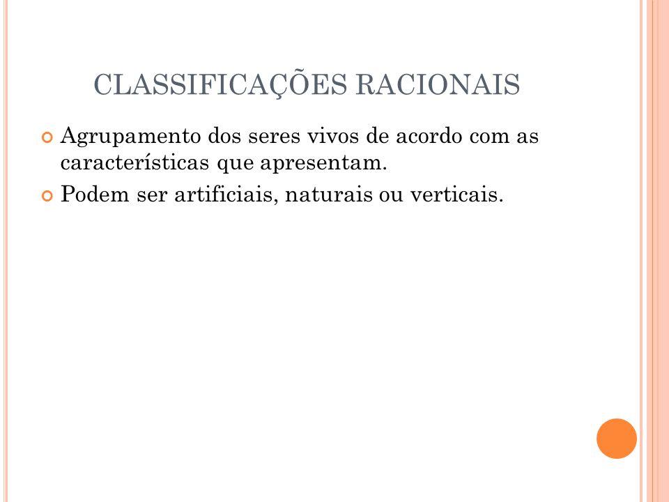 CLASSIFICAÇÕES RACIONAIS Agrupamento dos seres vivos de acordo com as características que apresentam.