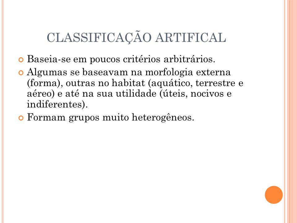 CLASSIFICAÇÃO ARTIFICAL Baseia-se em poucos critérios arbitrários. Algumas se baseavam na morfologia externa (forma), outras no habitat (aquático, ter